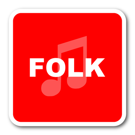 folk music: folk music red square simple tag banner web icon Stock Photo