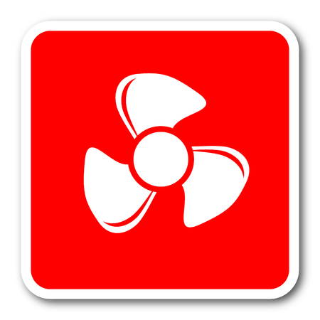 airflow: fan red square simple tag banner web icon