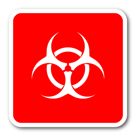 bacterioa: biohazard red square simple tag banner web icon