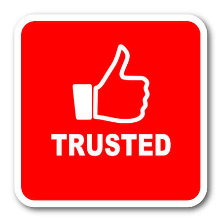 trusted: trusted red square simple tag banner web icon Stock Photo