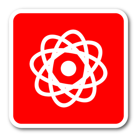 gamma radiation: atom red square simple tag banner web icon Stock Photo