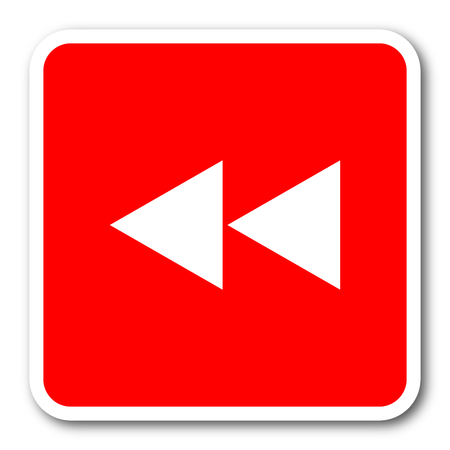 rewind red square simple tag banner web icon