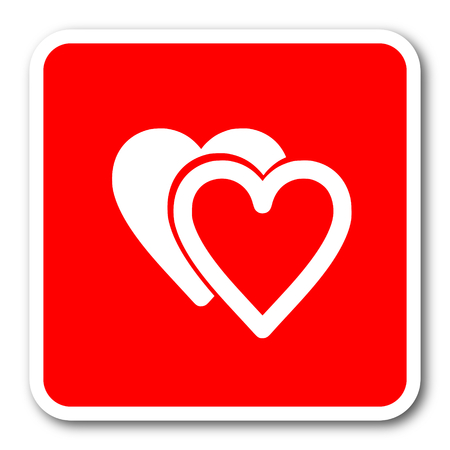 love icon: love red square simple tag banner web icon Stock Photo