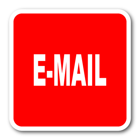 secretariat: email red square simple tag banner web icon