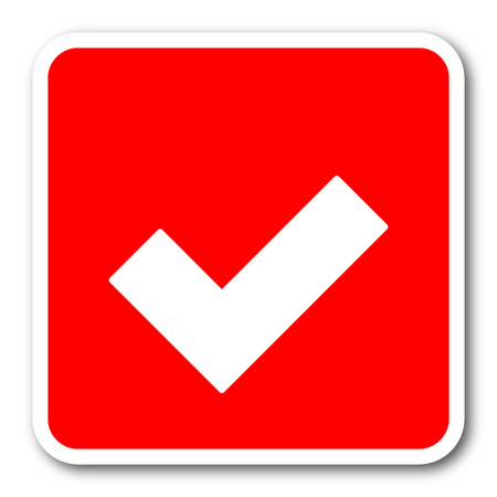 yea: accept red square simple tag banner web icon Stock Photo