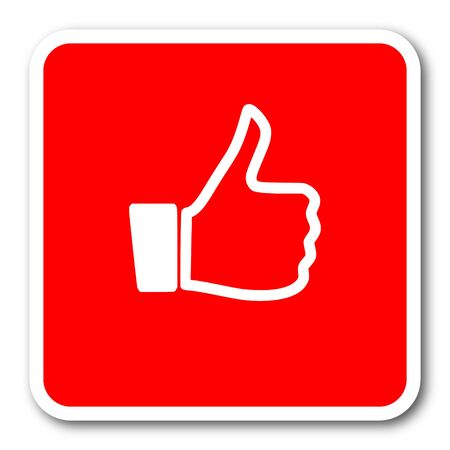 approval button: like red square simple tag banner web icon