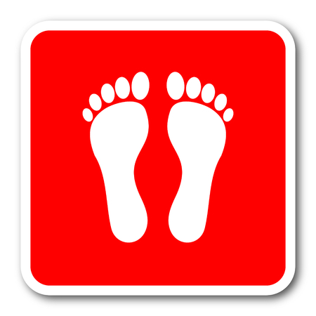 toe tag: foot red square simple tag banner web icon