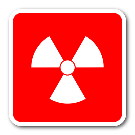gamma radiation: radiation red square simple tag banner web icon