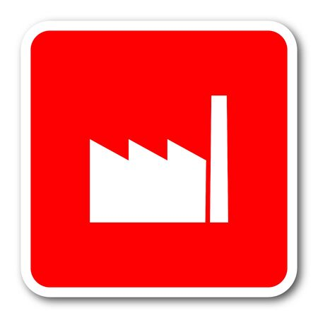 industrialist: factory red square simple tag banner web icon