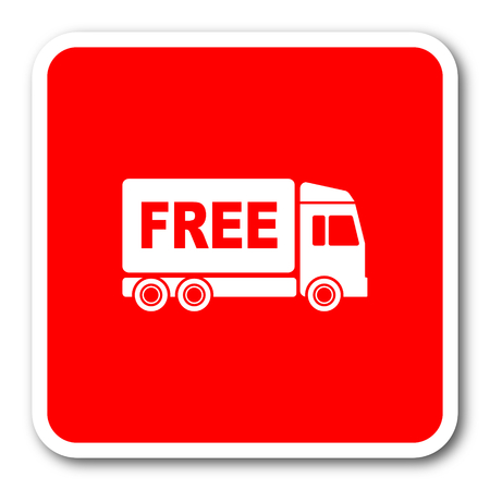 d�livrance: free delivery red square simple tag banner web icon Banque d'images