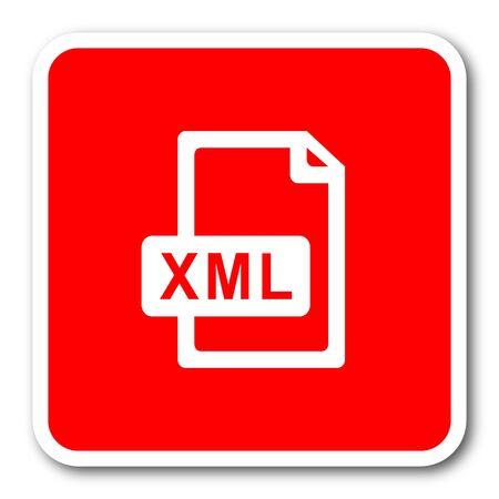 xml: xml file red square simple tag banner web icon