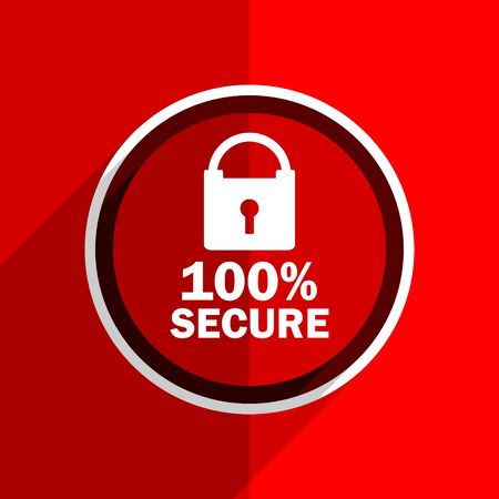secure: red flat design secure web modern icon Stock Photo