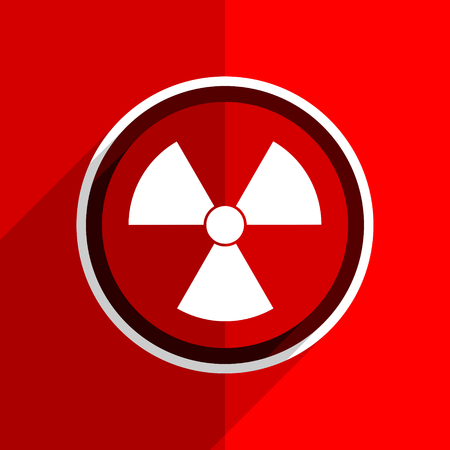 gamma radiation: red flat design radiation web modern icon Stock Photo