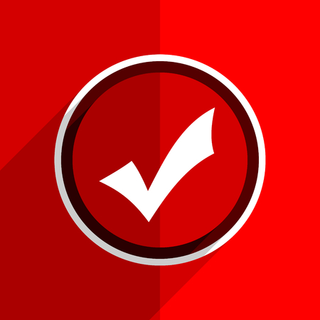 accept: red flat design accept web modern icon Stock Photo