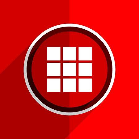 thumbnails: red flat design thumbnails grid web modern icon Stock Photo