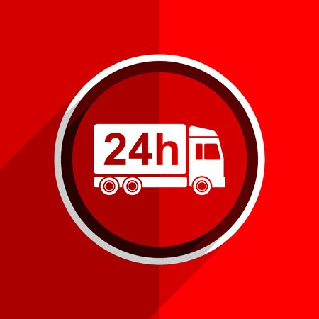 cargo transport: red flat design delivery web modern icon Stock Photo