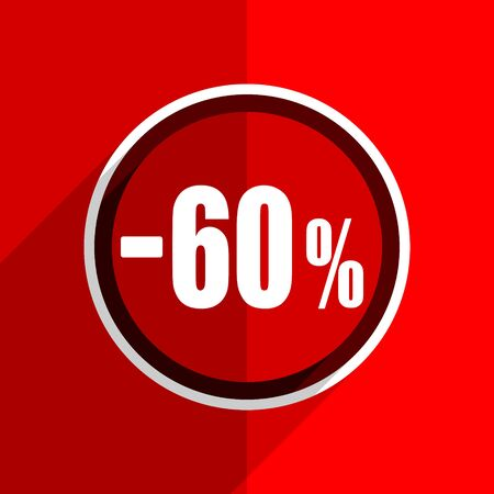 60: red flat design 60 percent sale retail web modern icon
