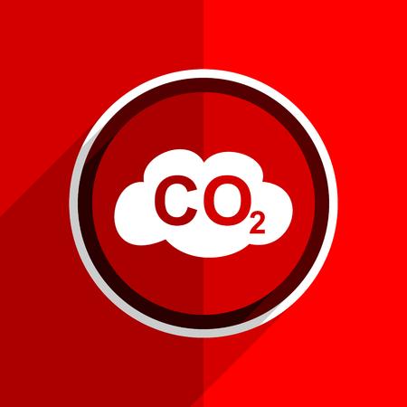 dioxido de carbono: dióxido de banda plana roja del carbón del diseño icono moderno Foto de archivo
