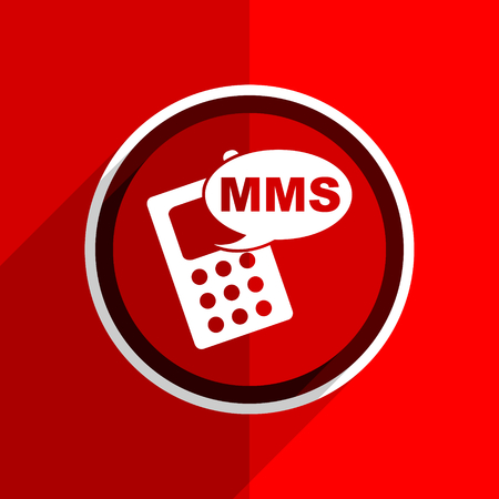 mms: red flat design mms web modern icon