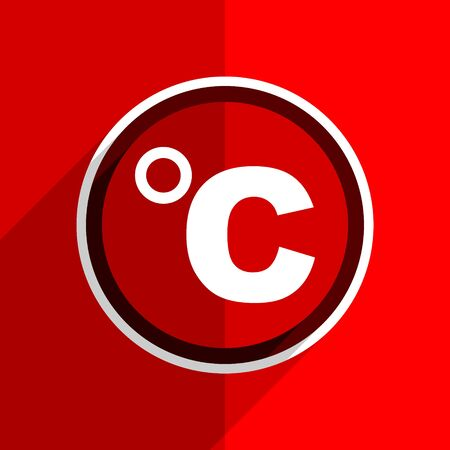 celsius: red flat design celsius web modern icon Stock Photo