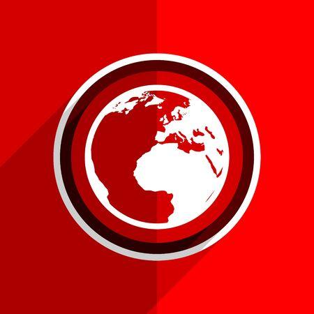flat earth: red flat design earth web modern icon Stock Photo