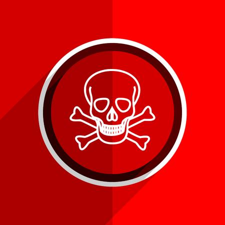 pirating: red flat design skull web modern icon