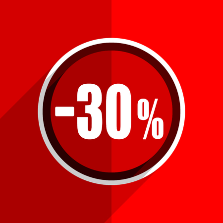 the 30: red flat design 30 percent sale retail web modern icon