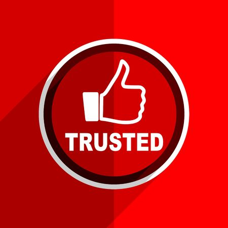 trusted: red flat design trusted web modern icon