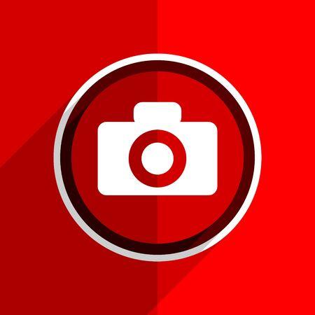 picto: red flat design camera web modern icon Stock Photo
