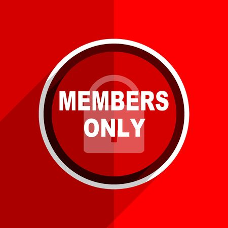 members only: red flat design members only web modern icon Stock Photo