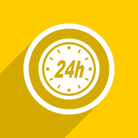 24h: yellow flat design 24h web modern icon for mobile app and internet