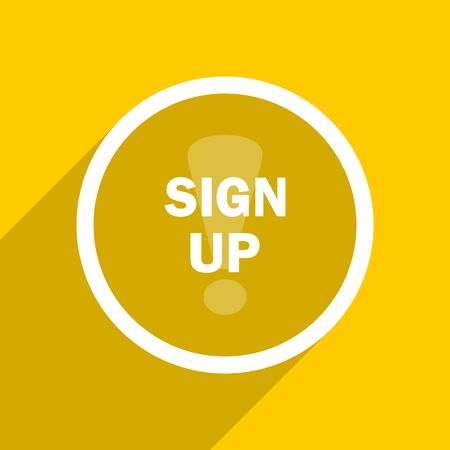subscribing: yellow flat design sign up web modern icon for mobile app and internet Stock Photo
