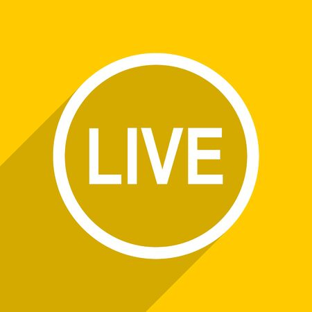 news cast: yellow flat design live web modern icon for mobile app and internet Stock Photo