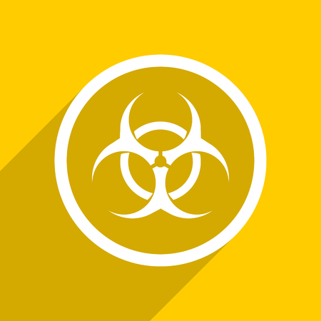 bacterioa: yellow flat design biohazard web modern icon for mobile app and internet Stock Photo