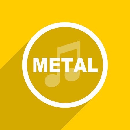metal music: yellow flat design metal music web modern icon for mobile app and internet
