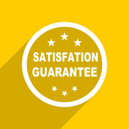 satisfaction guarantee: yellow flat design satisfaction guarantee web modern icon for mobile app and internet