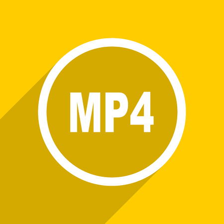 mp4: yellow flat design mp4 web modern icon for mobile app and internet Stock Photo