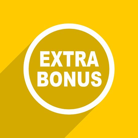 discounting: yellow flat design extra bonus web modern icon for mobile app and internet Stock Photo