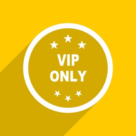 private club: yellow flat design vip only web modern icon for mobile app and internet Stock Photo
