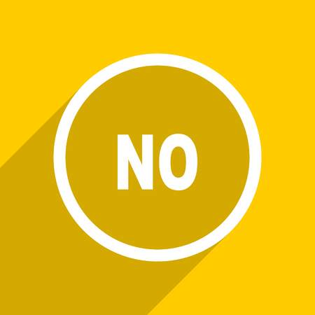 yellow flat design no web modern icon for mobile app and internet Stock Photo