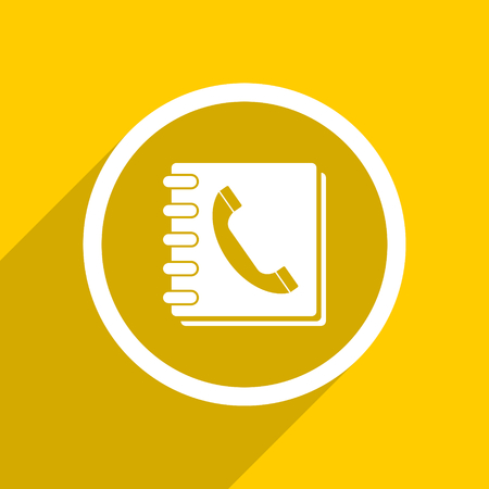 yellow flat design phonebook web modern icon for mobile app and internet Zdjęcie Seryjne