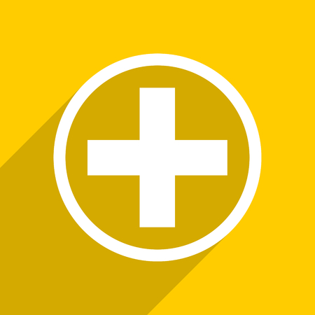 pathology pharmacy: yellow flat design plus web modern icon for mobile app and internet