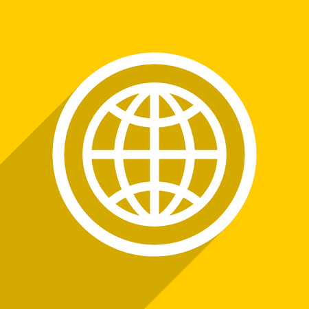 meridians: yellow flat design earth web modern icon for mobile app and internet Stock Photo