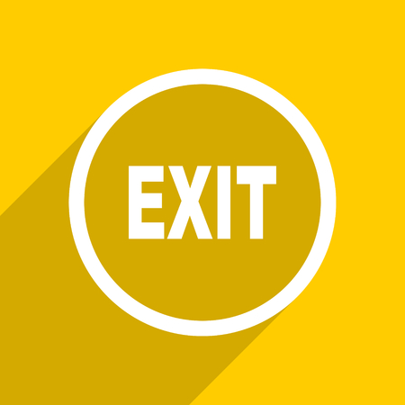 arrow emergency exit: yellow flat design exit web modern icon for mobile app and internet Stock Photo