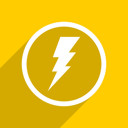 amperage: yellow flat design bolt web modern icon for mobile app and internet Stock Photo