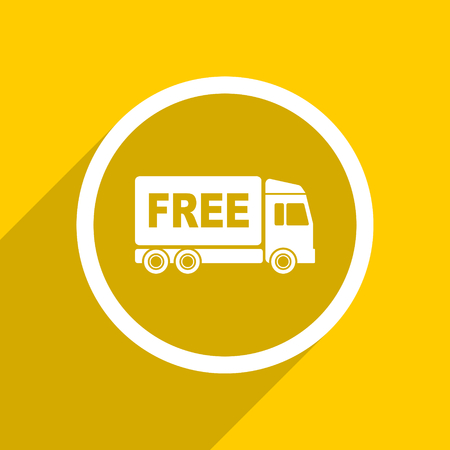 délivrance: yellow flat design free delivery web modern icon for mobile app and internet