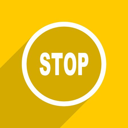 proscribed: yellow flat design stop web modern icon for mobile app and internet Stock Photo