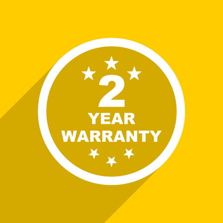 best security: yellow flat design warranty guarantee 2 year web modern icon for mobile app and internet