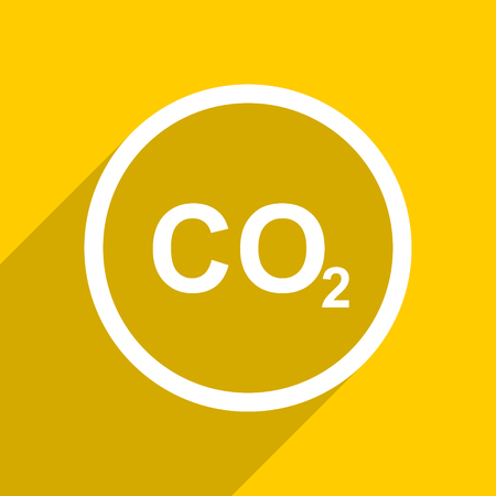 carbon dioxide: yellow flat design carbon dioxide web modern icon for mobile app and internet