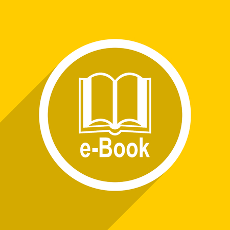 mobile app: yellow flat design book web modern icon for mobile app and internet